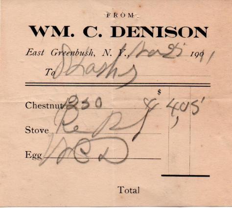 Lasher - coal receipt - 1911