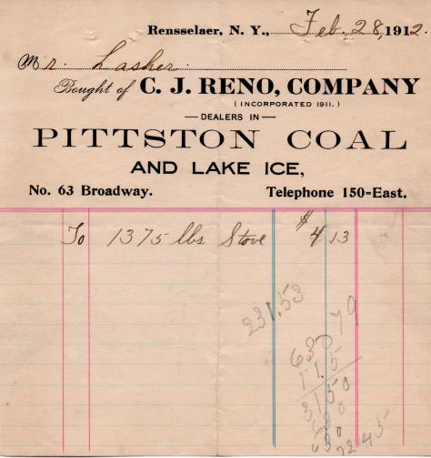 Lasher coal receipt - 1912
