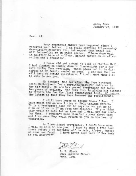 APG - L.K.Sieck letter, Jan., 1942