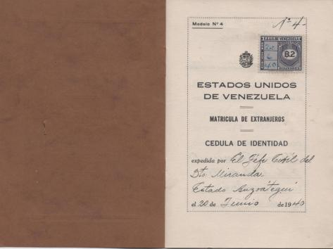 APG - Lad's ID in Venezuela - 1st page - 1940