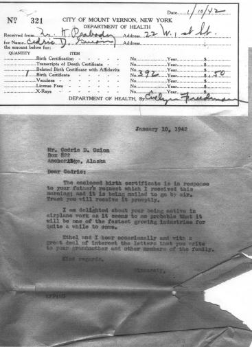 CDG - Birth Certificate from Kemper - Jan, 1942