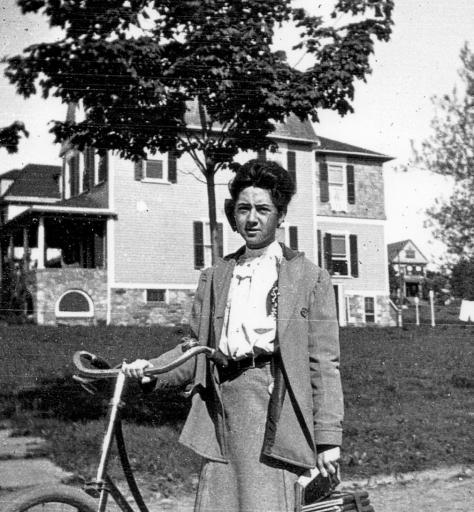 ADG - Elsie Duryee with her bike @ 1905