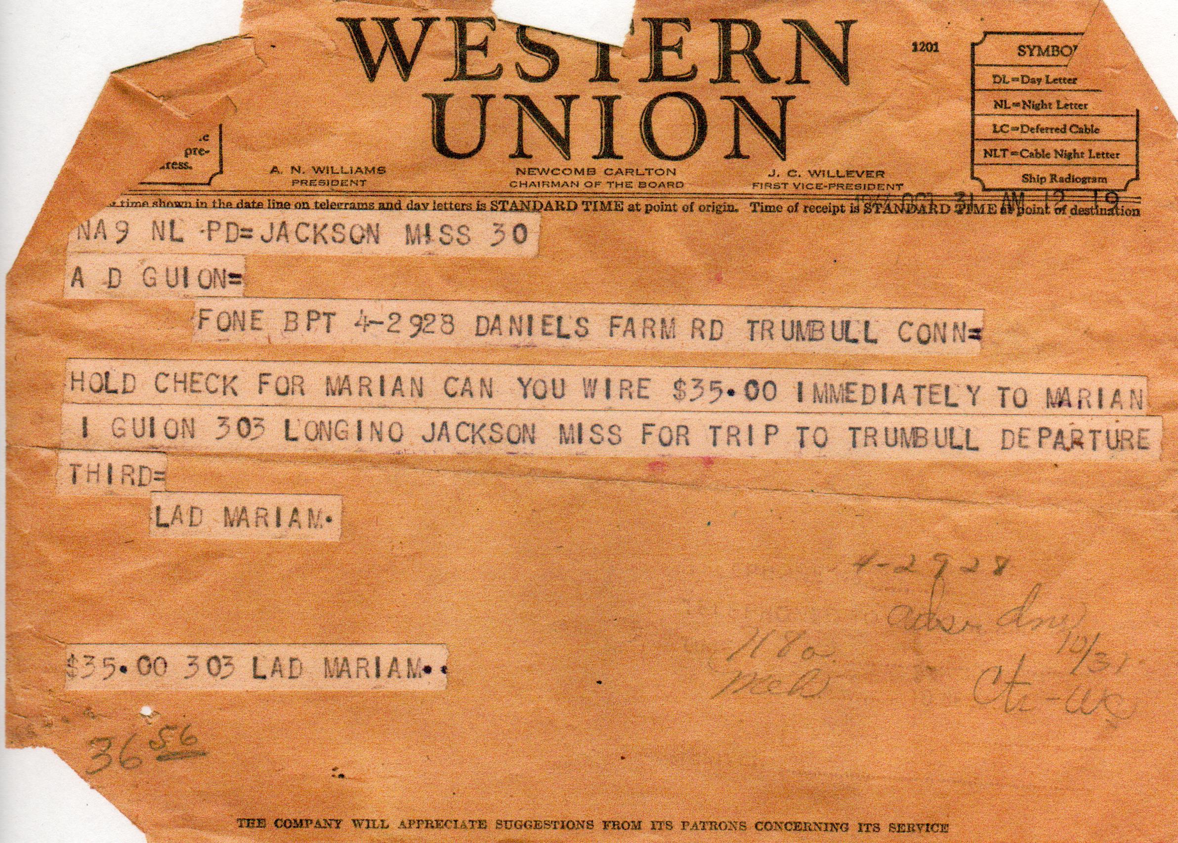 APG - telegram asking for $35 traveling money for Marian -Oct., 1944