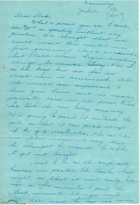 MIG - letter to Grandpa - Thanks for the $35., Nov., 1944