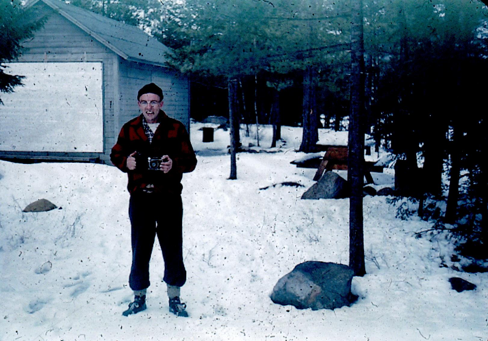 Spring Island - Winter - Pete Linsley with Cook Cabin in background