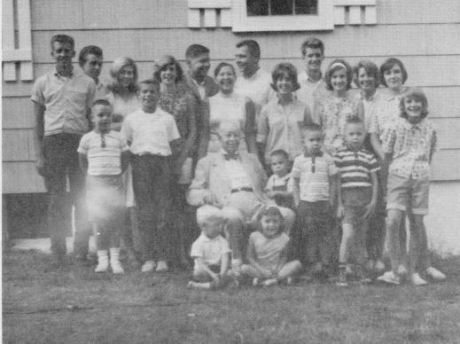 1964 Guion Family Reunion - Grandpa with his grandchildren