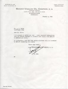 APG - Letter from Socony-Vacuum about pay raise - Jan., 1941