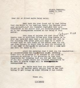 APG - Letter From L.K. Sieck, at Guario - Jan., 1941