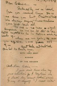 CDG - Christmas card message from Helen Human (inside) - Dec., 1944