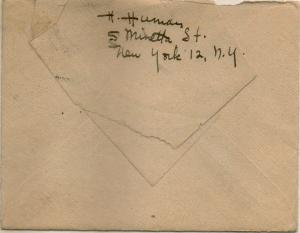 CDG - Envelope from Christmas card from Helen human (back) - Dec., 1944