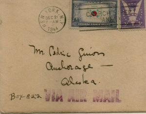 CDG - Envelope from Christmas Card from Helen Human (front) - Dec., 1944