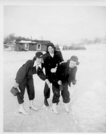 MIG - Marian (Irwin) Guion, Jeanne (Hughes) Hayden and Dottie - ice skating - Jan., 1945
