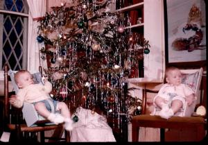 1946 Christmas - Doug and Judy, Rusty's painting
