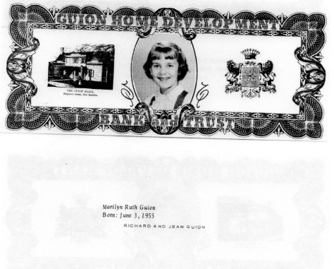 ADG - 1963 Christmas Card - Marilyn Ruth Guion - front and back