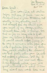 APG - Lad's letter from France, Feb., 18, 1945