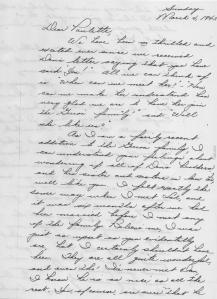 MIG - First letter to Paulette, March, 1945