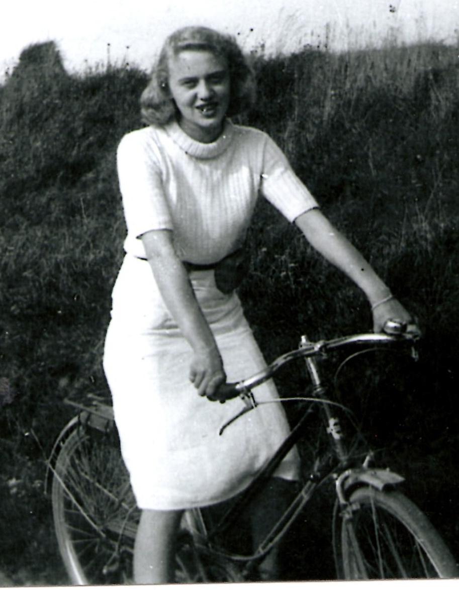 DBG - Paulette on Bike @ 1945 in France