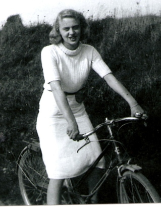 DBG - Paulette on Bike @ 1945 in France