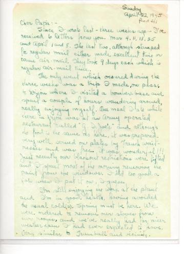 APG - Letter from So. France - April 22, 1945