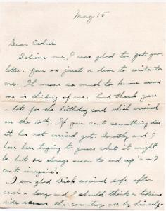 CDG - letter from Grandma Peabosy - May, 1941