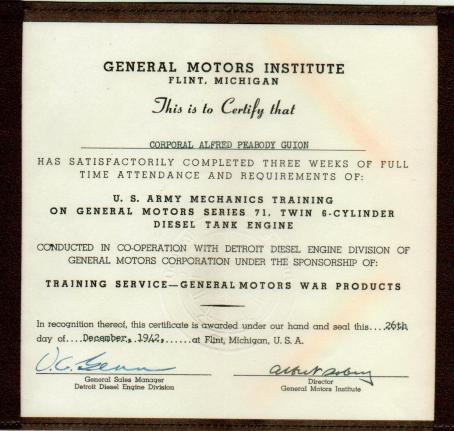 APG - GM Certificate, Flint, Michigan, Dec., 1942