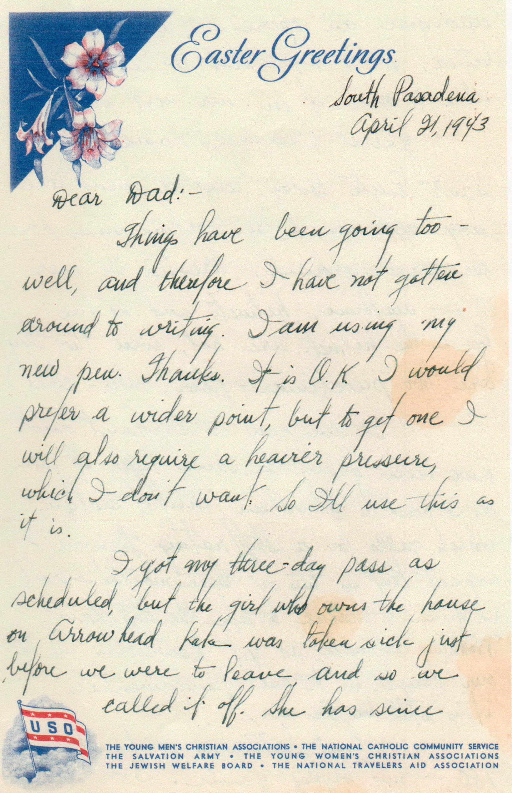 Army Life Easter Greetings From South Pasadena April 1943