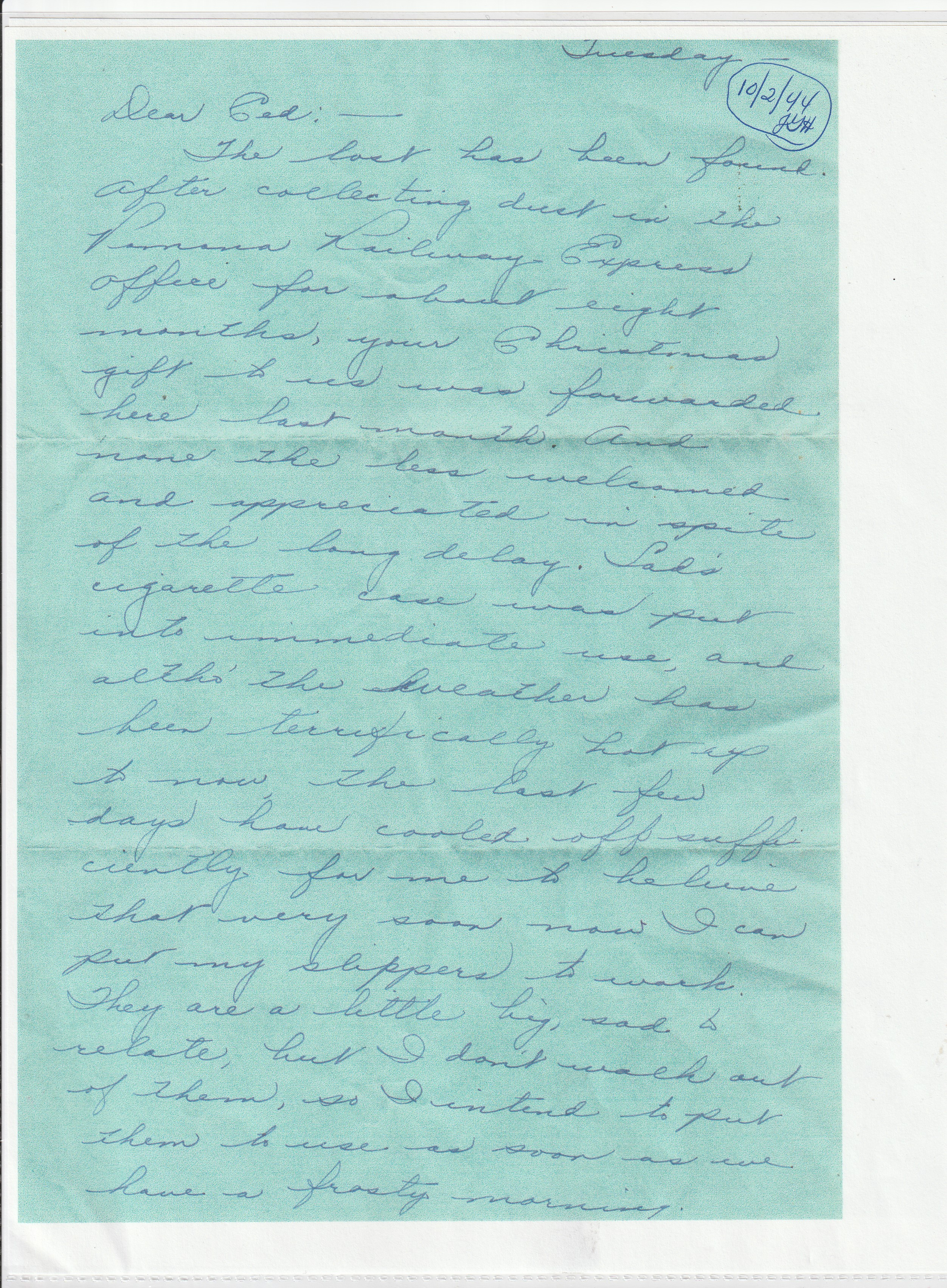 Army Life - Dear Ced - Thanks For The Christmas Gifts - October 2, 1944