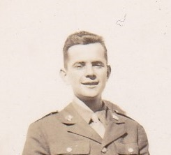 DPG - Dave in uniform nexct to barn - Dec., 1944 cropped - head and shoulders)