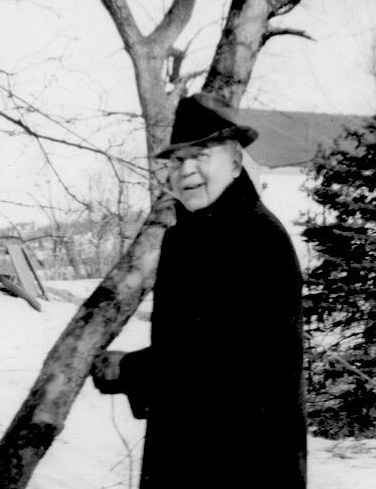 ADG - Grandpa about 1945 or 1946 near a tree in winter (cropped) (2)