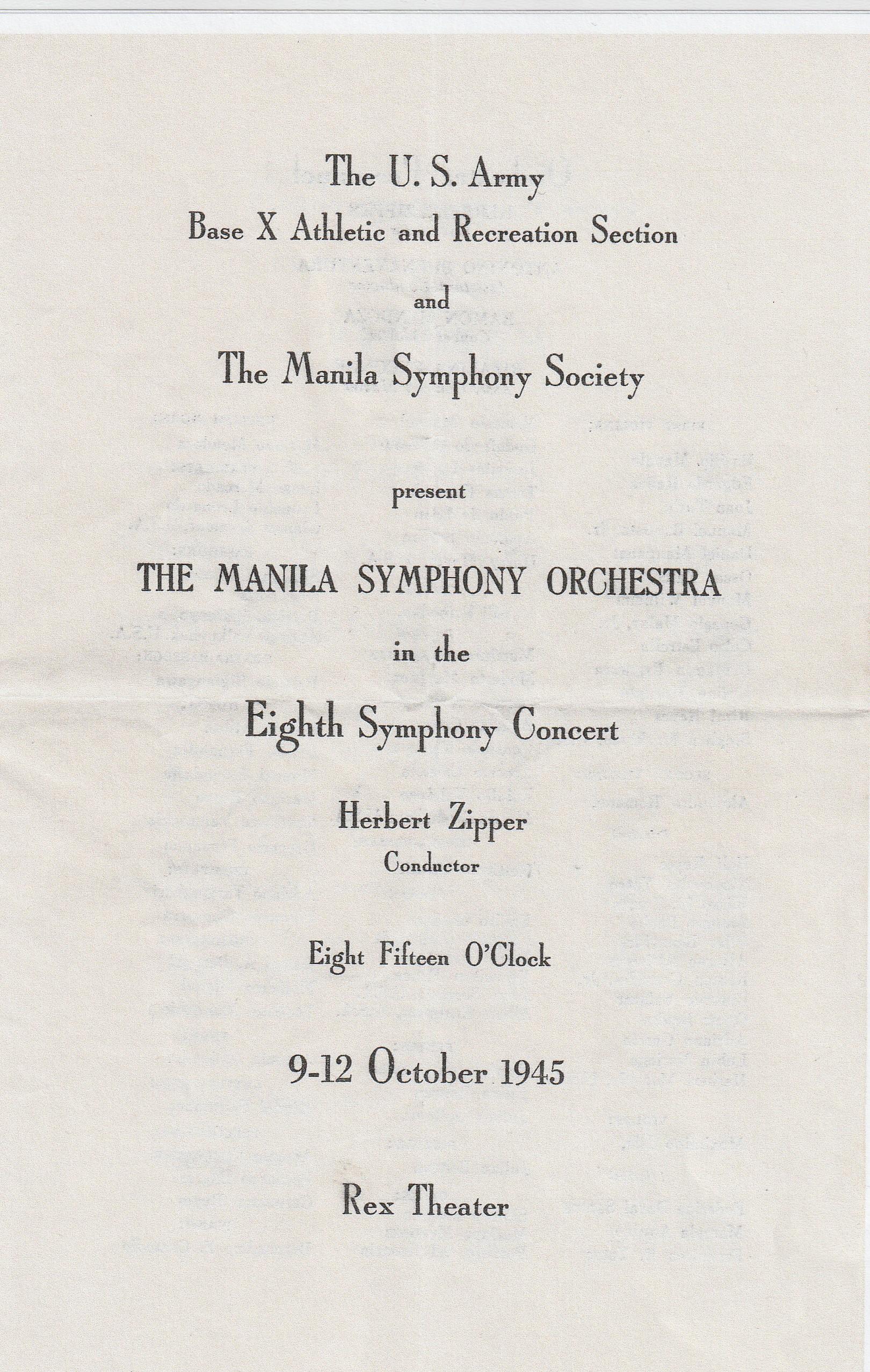 DPG - Manila Symphony Prgram - October 11, 1945