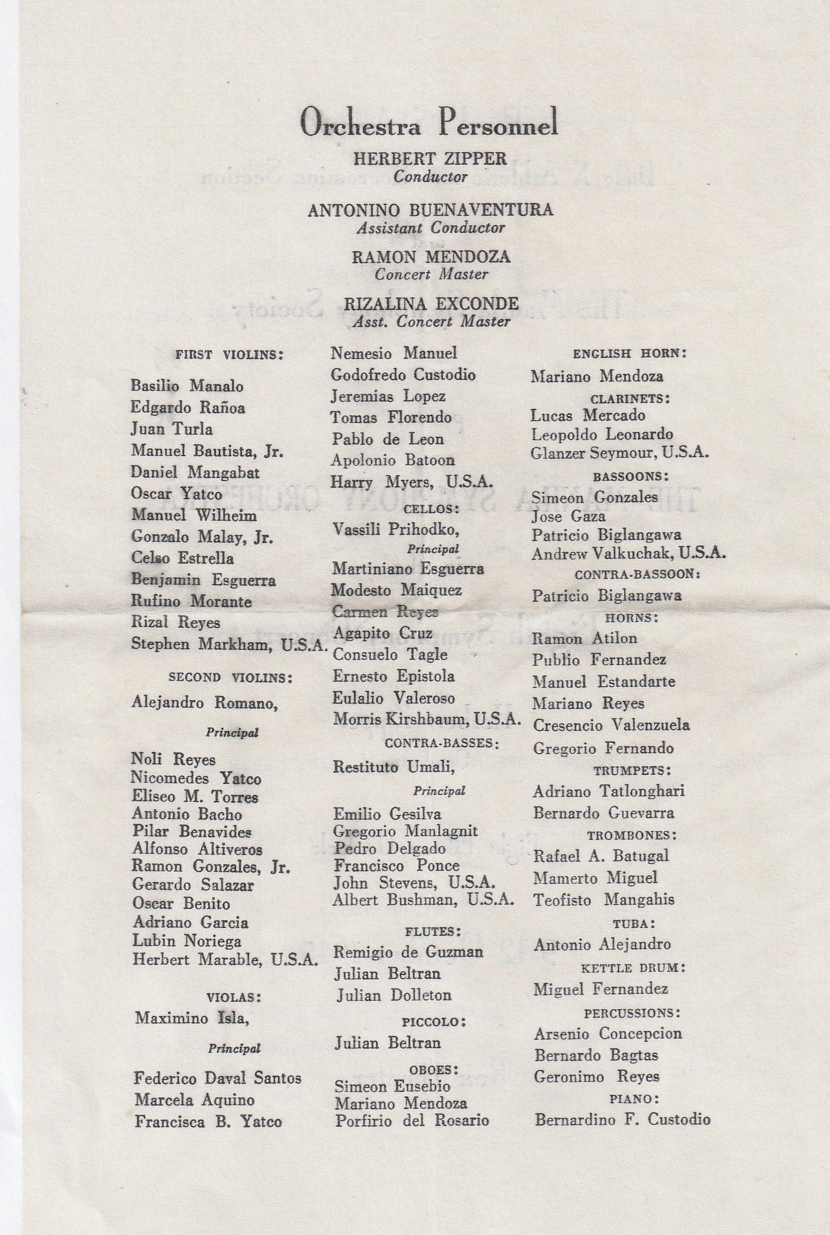 DPG - Manila Symphony Program (2) - October 11,1945