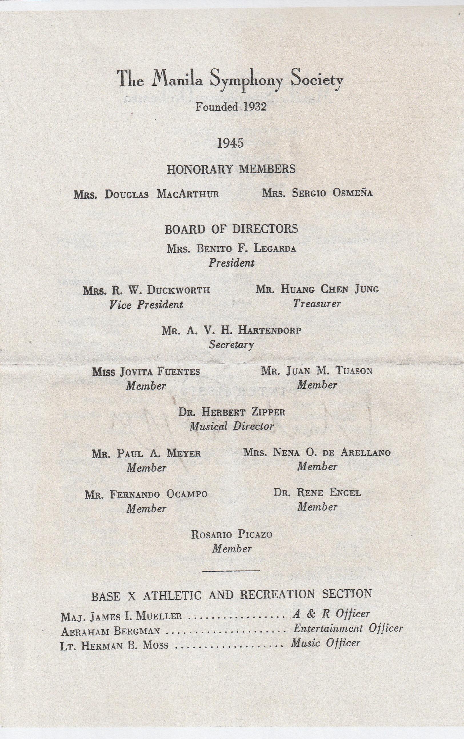 DPG - Manila Symphony Program (4) - October 11, 1945