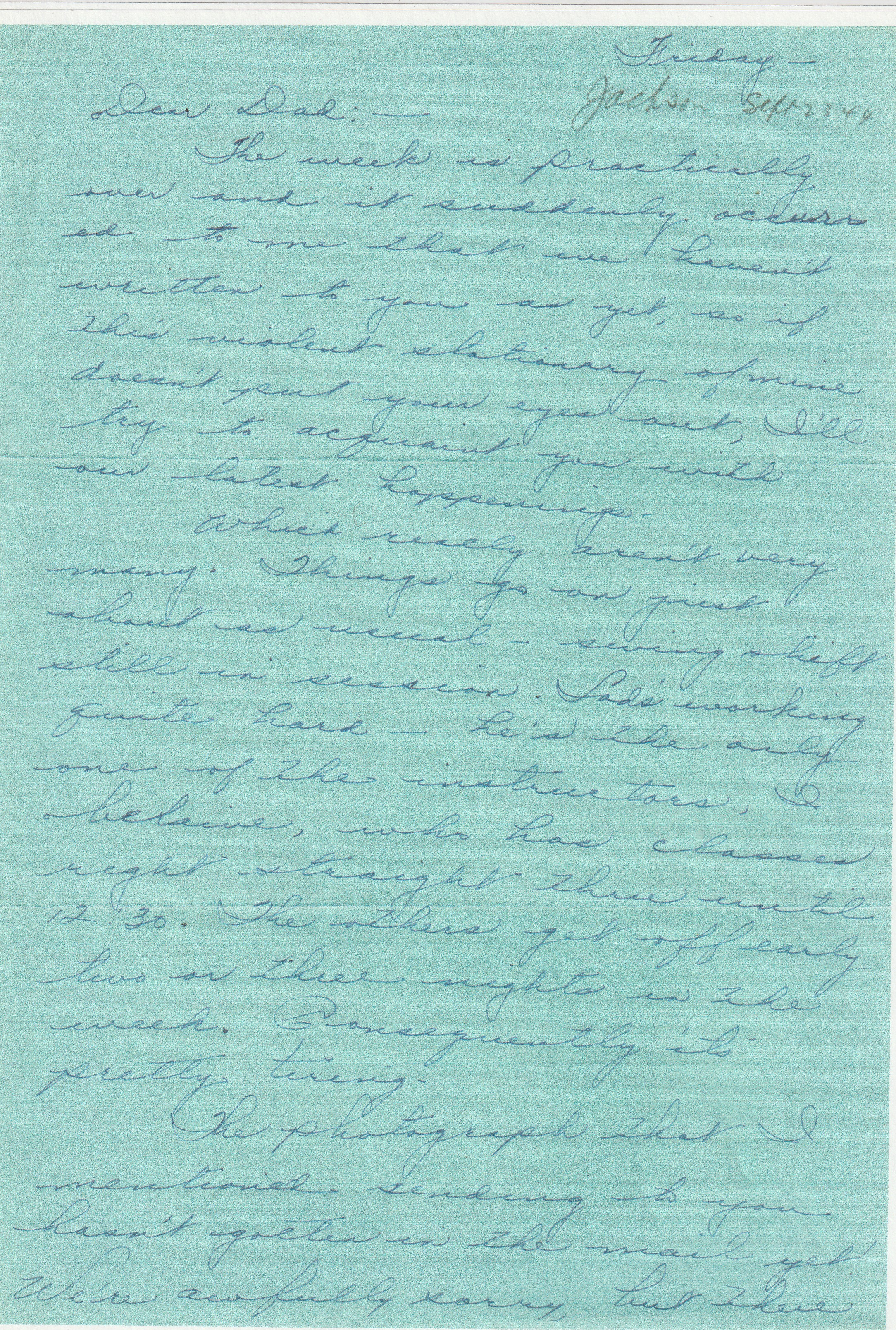 MIG - Army Life - Marian Writes To Grandpa From Jackson Mississippi - September 22, 1944