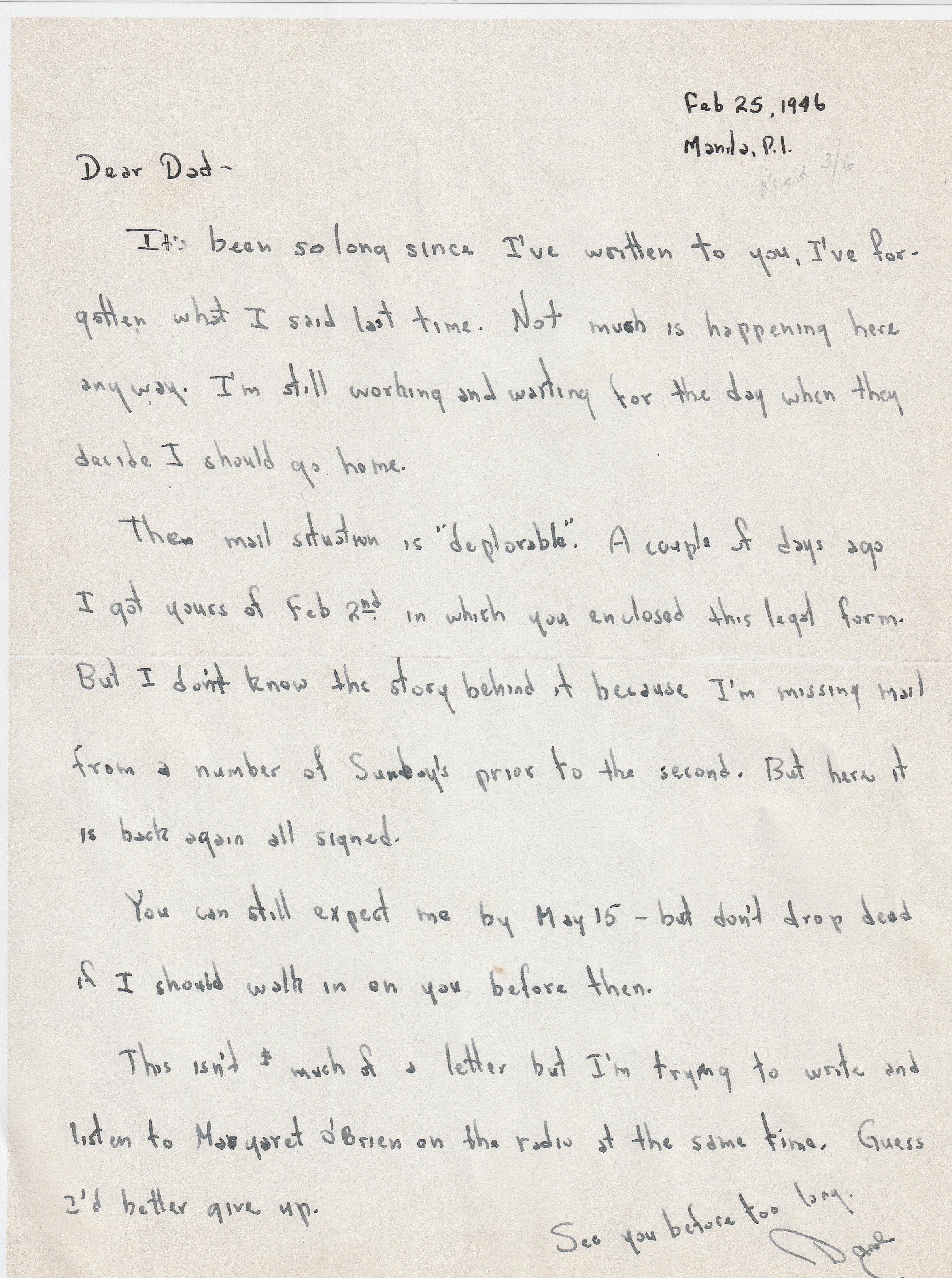 World War II Army Adventure (122) - Dear Dad - At Long Last - March 18, 1946