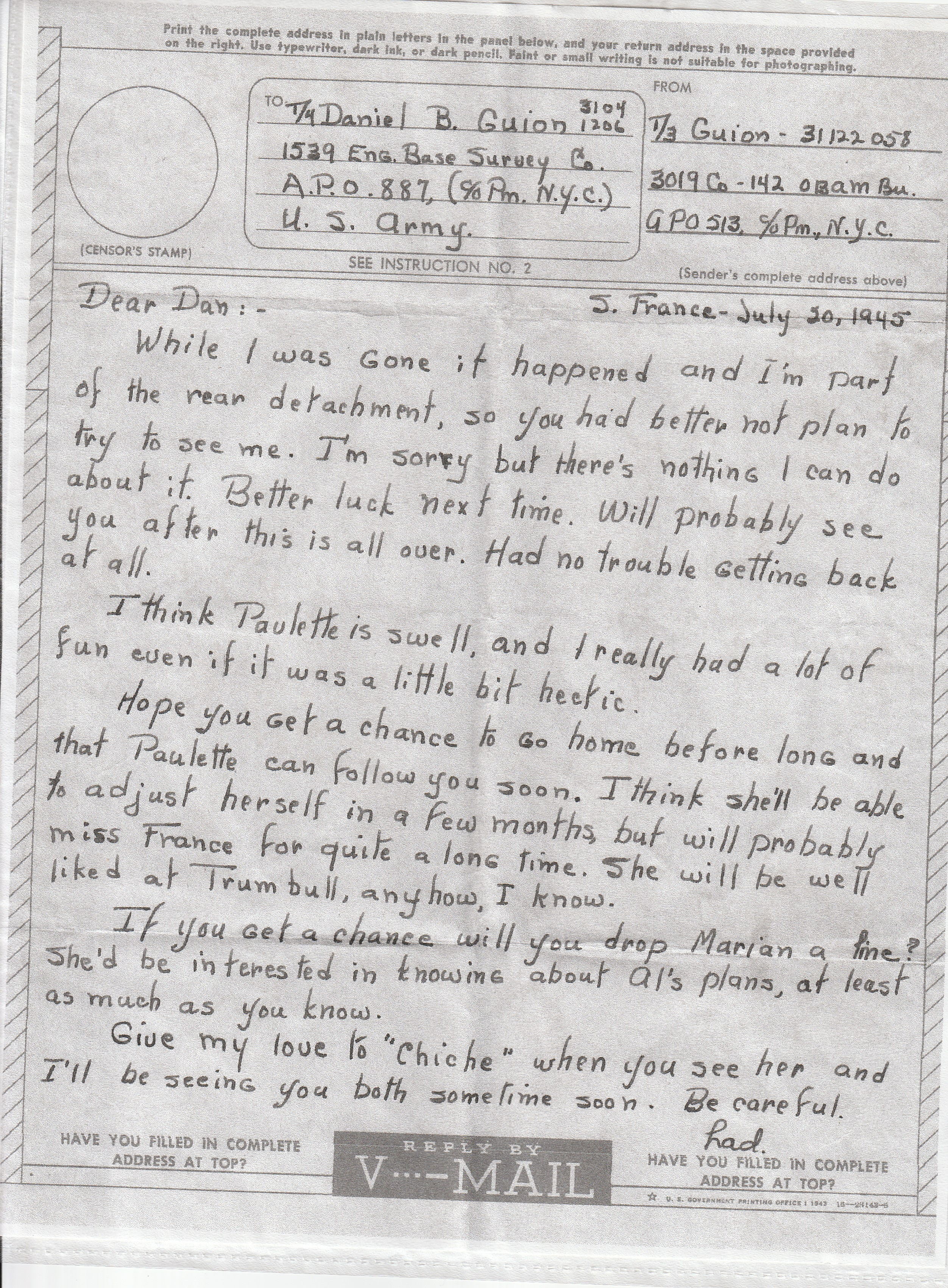 Army Life - Lad Send A V-Mail to Dan - July 20, 1945