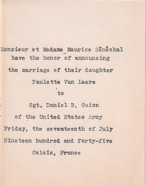DBG - Wedding Announcement - ADG - 7.17.1945 - cover
