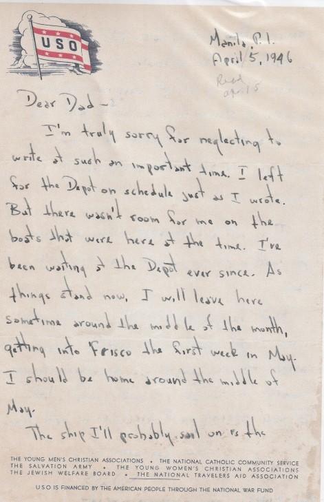 World War II Army Adventure (126) Dear Dad - Neglecting to Write - April 5, 1946