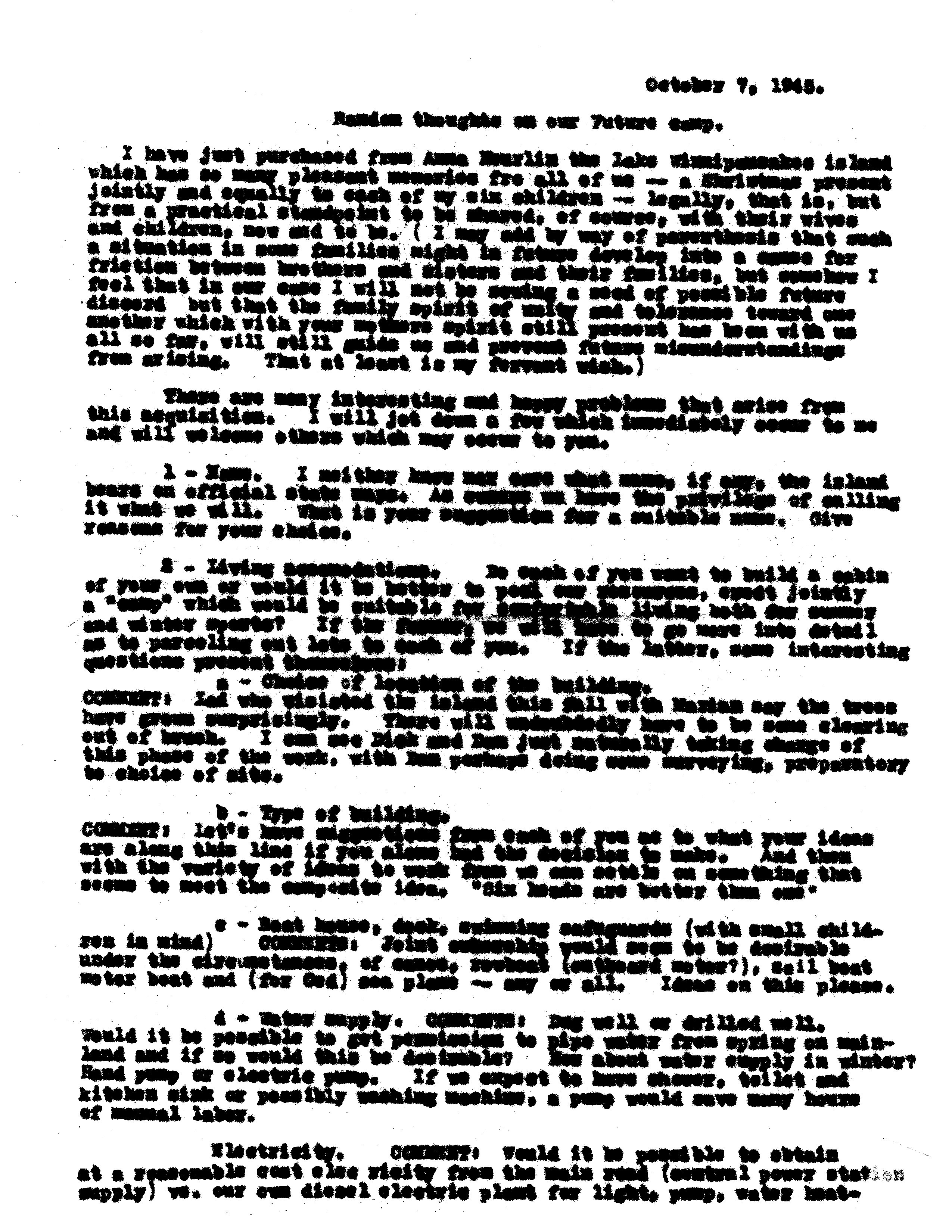 ADG - Random Thoughts on our Future Camp (1) - October 7, 1945