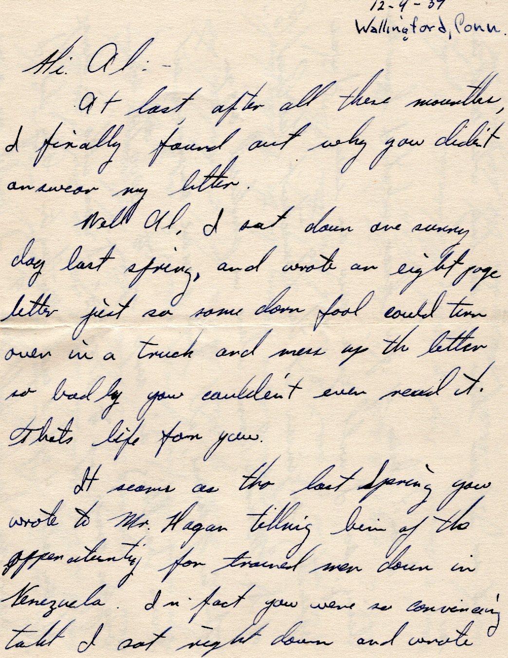 Friends - Dear Al-Job Opportunities in Venezuela-December 4,1939